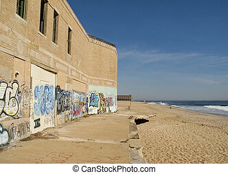 Beach Ruins - This is a shot of the old casino building in...