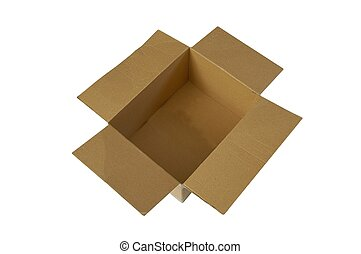 Open box - Open carton box over white