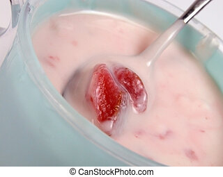 Strawberry yogurt - Close-up of a strawberry yogurt cup