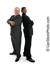 Competition Men - Businessmen back to back. Snarling at each...