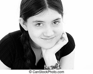 Tween Girl B&W - Close Up Twelve Year Old Girl In Black And...