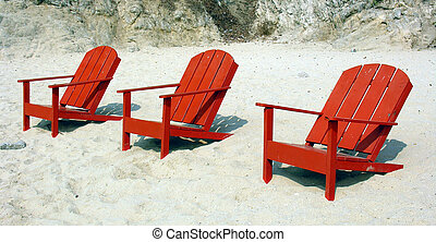 Trio - Three deckchairs on a mexican beach...