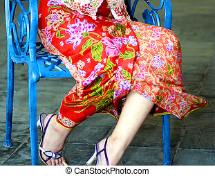 In Seductive Fashion - Sarong Kebaya, a traditional Nyonya...
