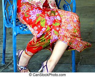 In Seductive Fashion - Sarong Kebaya, a traditional Nyonya...