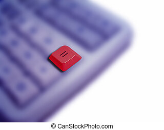Equals - A raised red equals button against a blurred...