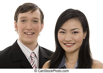 Business Couple 4 - A smiling pair of business people