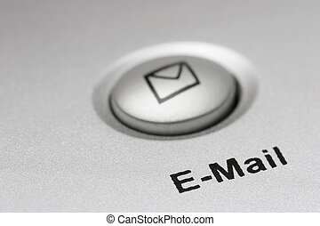 email button - macro of an email button on keyboard, shallow...