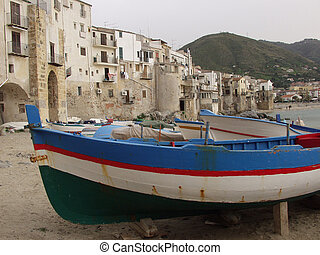 Cefalu harbor,Sicily - Fishermens boats at Cefalu, Sicily