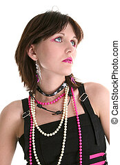 Teen Fashion - Close up of teen girl in trendy alternative...