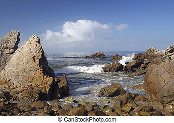 CDM Rocks - Rocky coastline at Corona del Mar Beach, CA