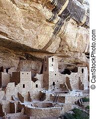 Cliff Palace Closeup - Cliff Palace, Anasazi Cliff Dwelling,...