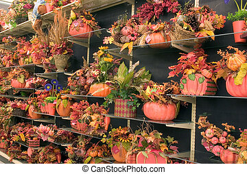 Fall decorations 3 - A display of fall decorations for sale...