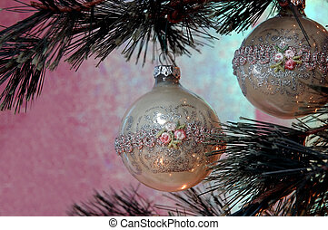 Christmas Tree - Vintage hand-made glass ornament with...