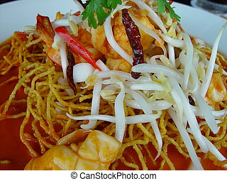 Thai fried red curry - Fresh seafood and noodle still-life