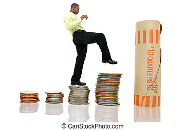 Man Climb Money - Young man in business attire climbinb...