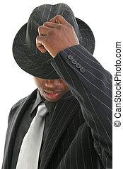 negócio, homem, chapéu