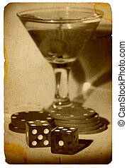 Old Time Gambling - Martini and Dice - Vintage Photo Look