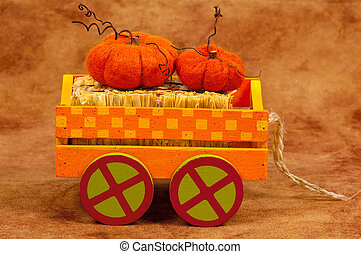 Pumpkin Cart - Fall / Halloween Decoration