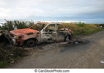 Burnt out car wreck,