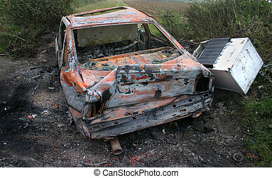Burnt out car wreckage