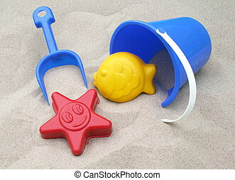 Areia, brinquedos