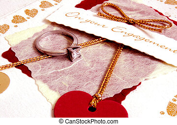 Engagement carddetail with diamond ring