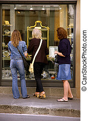 Window Shopping - Three Women Window Shopping