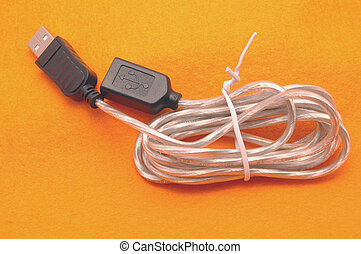 usb cable - new usb cable on orange felt