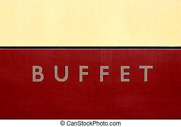 Buffet car sign, severn valley railway, bewdley station, uk