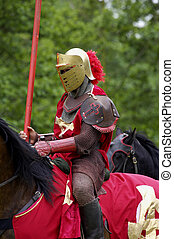 red knight on horseback, warwick castle, England