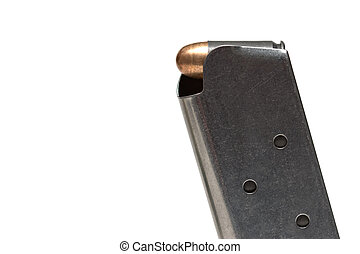 bullet in clip - bullet in magazine over white -...