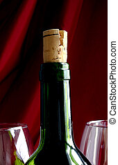 Wine Life - Wine Bottle and two glasses with red background