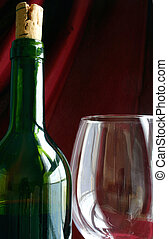 Wine Life - Wine bottle and glass against red drape