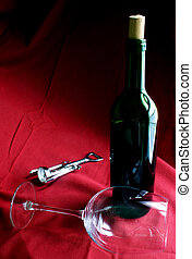 Wine Life - Wine bottle, glass and corkscrew