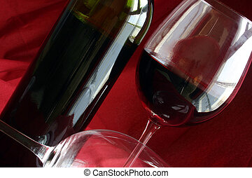 Wine Life - Wine glasses and bottle with red background