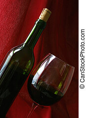 Wine Life - Wine bottle and glass angled against red drape