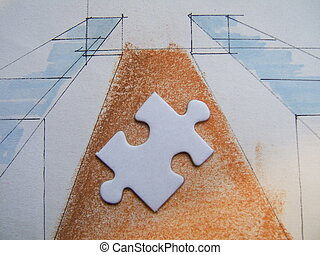 White puzzle alone - Puzzle on a handmade design