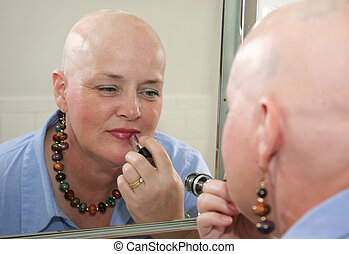 Courageous Reflection - A woman bald from a health problem...