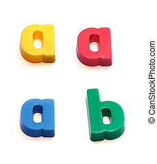 ABC fridge magnets - letters a (in three colors) and b. Mix...