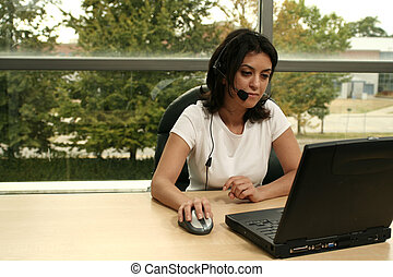 office girl with headset