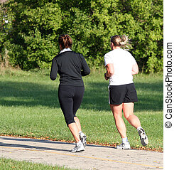 Female Joggers - Pair of women joggin in park