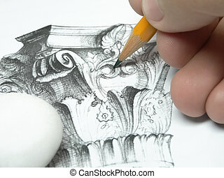 Drawing - Hand with pencil drawing