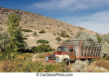 farm truck - abandoned farm truck in rural wyoming