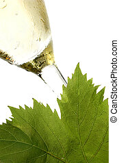 White Wine - White wine and vine leaf on white