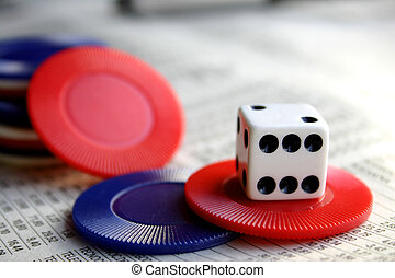 Financial Risk - Financial page, dice and poker chips