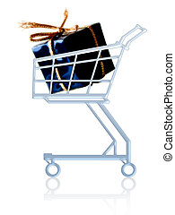 Gift in a cart - Gift in a shopping cart. Isolated