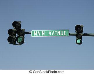 Main - Go - Street sign and go traffic signal, Main street,...