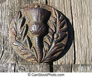 Scottish thistle - Bronze thistle medallion - decorative...