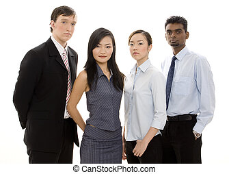 Diverse Business Team 3 - A serious-looking group of young...