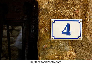 Number Four - French House Number In A Provencial Town